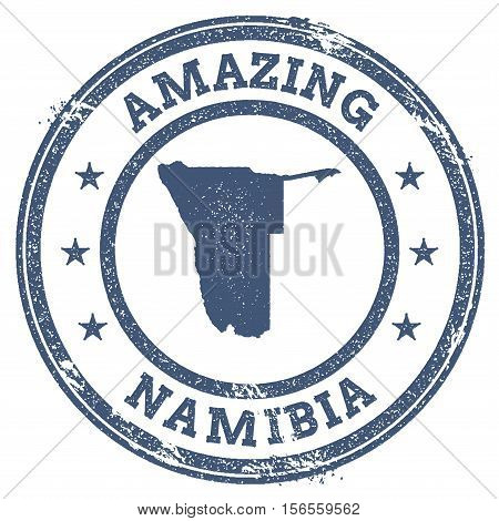 Vintage Amazing Namibia Travel Stamp With Map Outline. Namibia Travel Grunge Round Sticker.