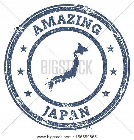 Vintage Amazing Japan Travel Stamp With Map Outline. Japan Travel Grunge Round Sticker.