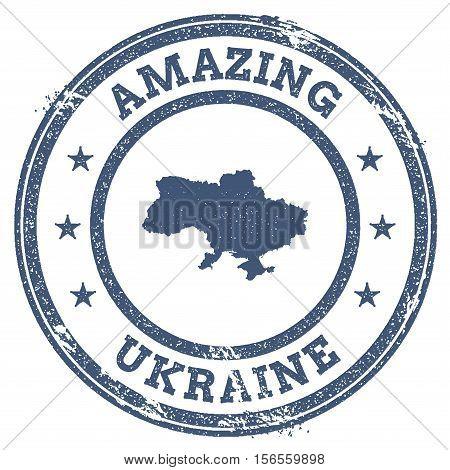 Vintage Amazing Ukraine Travel Stamp With Map Outline. Ukraine Travel Grunge Round Sticker.