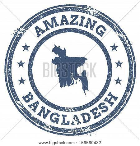 Vintage Amazing Bangladesh Travel Stamp With Map Outline. Bangladesh Travel Grunge Round Sticker.