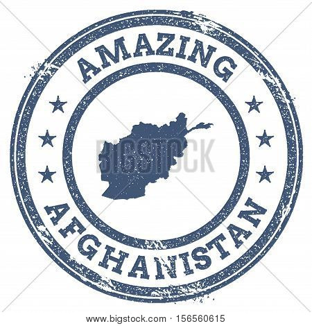 Vintage Amazing Afghanistan Travel Stamp With Map Outline. Afghanistan Travel Grunge Round Sticker.