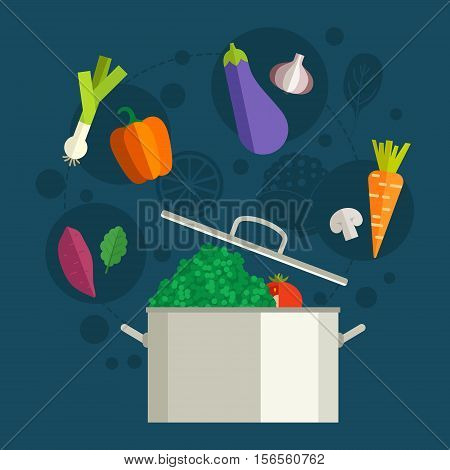 Conceptual illustration of healthy food around a pan. Diet concept. Banner or flyer with healhy vegetables. Flat vector.