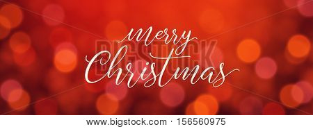 Merry Christmas modern calligraphy lettering. Vector illustration for greeting cards, banners, headers. Typographic vector design, beautiful red bokeh background, blurred festive lights.