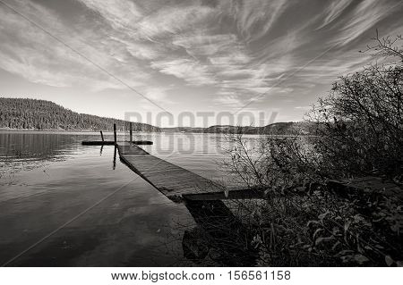 B&W of calm Chatcolet Lake in Heyburn State Park near Plummer Idaho