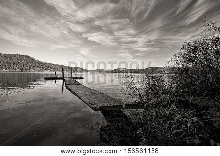 B&W of calm Chatcolet Lake in Heyburn State Park near Plummer Idaho