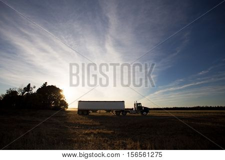Semi truck and grain trailer parked on agricultural field at sunset