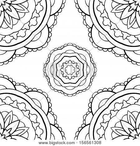 Seamless vector background. The pattern with contour simple mandalas. Oriental black and white ornament. Template for textile molding carpet.