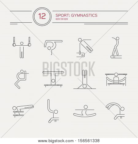 Perfect artistic gymnastics icons and symbols collection with all disciplines made in modern linear vector style. Summer games and sports modern vector series. Great set of line style symbols.