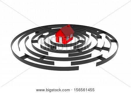 Labyrinth with a house road to the house 3d rendering isolated on white