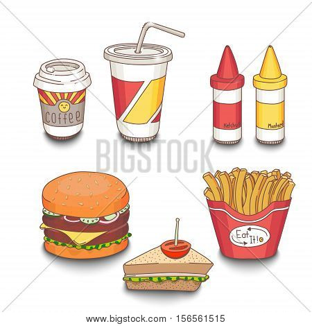 Set of cartoon fast-food meal colored with shadows on white background. Hamburger, sandwich, fries, coffee, soda, ketchup and mustard. EPS10