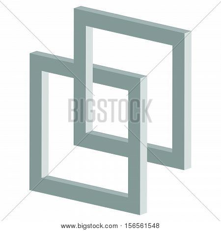 3D Interlocking Squares Icon - Connected Intersecting Square Frames