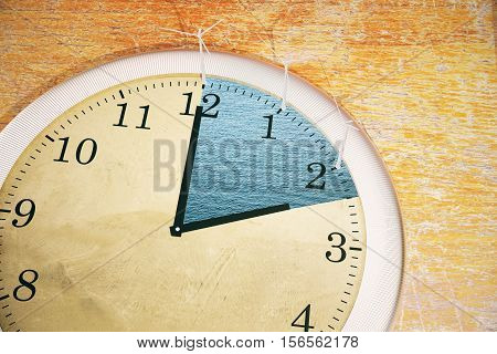 Close up of abstract tiny wind mills on clock placed on wooden surface. 3D Rendering. Time management concept