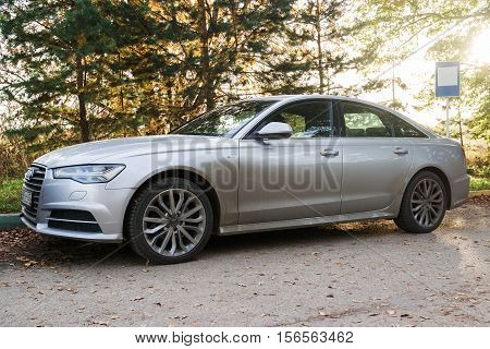 MUNICH, GERMANY - OCTOBER 0,1 2016: Audi A6 parked on the streets of Munich suburb. Audi is among the best-selling luxury automobiles in the world.