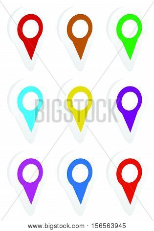 Map Marker, Map Pin Icon Set In 9 Colors