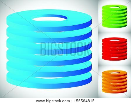 Abstract Cylinder / Barrel Icon In 3 Color. Stacked Rings.