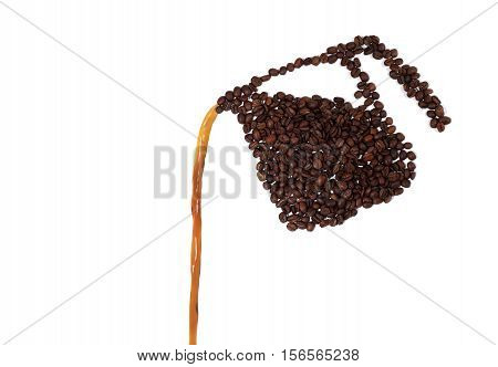 Still Life of a Coffee Pot Made of Coffee Beans Pouring Coffee on White Background