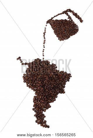 Still life of a Map of South America And Coffee Pot Made of Coffee Beans on White Background