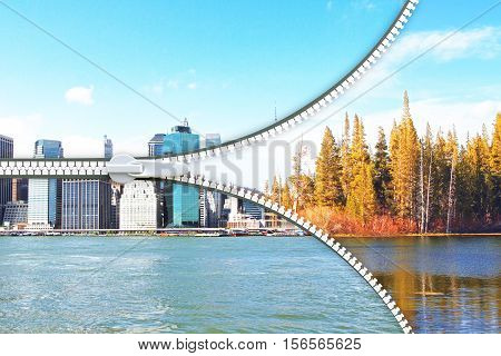 Abstract image of city and landscape with zip. Urbanization concept. 3D Rendering