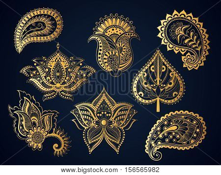 Vector illustration set gold ornamental Indian elements Bohemian style. Boho tulip flower pattern lotus flower Paisley leaf oriental meditation indian isolated object for the mehendi and tattoo