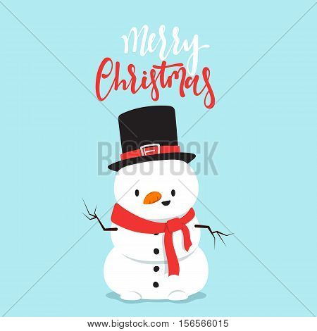 Snowman cartoon character in a flat style. Christmas character cheerful cute snowman. Merry Christmas Vector Illustration