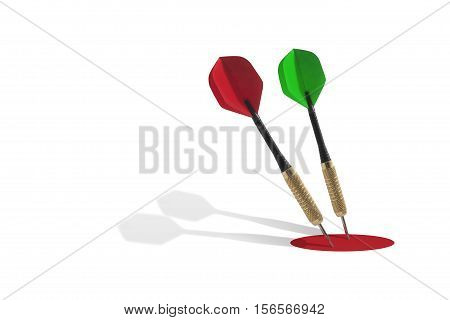 Still life of Two Darts in a Red Target on White Background