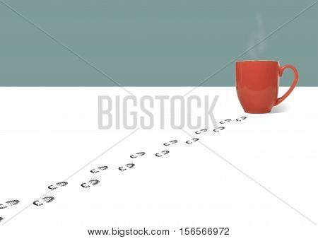 Still Life of a Set of Footprints of a Person Leading to a Red Ceramic Coffee Cup on White Background