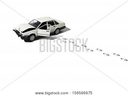 Still Life of an Abandoned and Wrecked Model Automobile with Trail of Footprints From a Person Walking Away