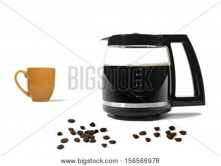 Still Life of a Coffee Pot and Cup with Scattered Coffee Beans on White Background