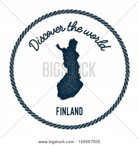 Vintage Discover The World Rubber Stamp With Finland Map. Hipster Style Nautical Postage Stamp, With