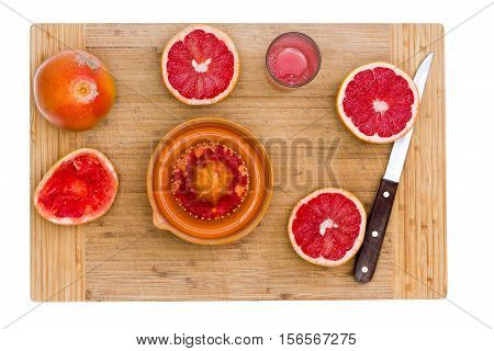 Ruby Red Grapefruit With Juicer And Sharp Knife