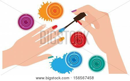 Woman hands with manicure closeup coloring nails bright nail Stock vector illustration. View from above.