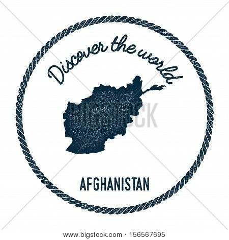 Vintage Discover The World Rubber Stamp With Afghanistan Map. Hipster Style Nautical Postage Stamp,