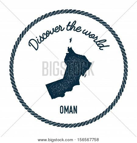 Vintage Discover The World Rubber Stamp With Oman Map. Hipster Style Nautical Postage Stamp, With Ro