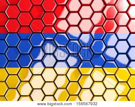 Flag Of Armenia, Hexagon Mosaic Background