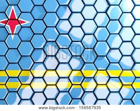 Flag Of Aruba, Hexagon Mosaic Background