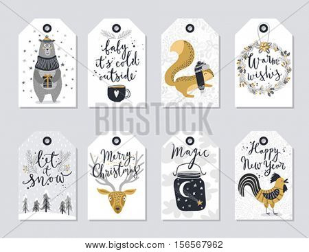 Christmas tags set, hand drawn style. Vector illustration.
