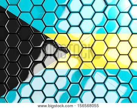 Flag Of Bahamas, Hexagon Mosaic Background