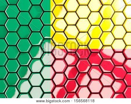Flag Of Benin, Hexagon Mosaic Background