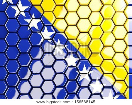 Flag Of Bosnia And Herzegovina, Hexagon Mosaic Background