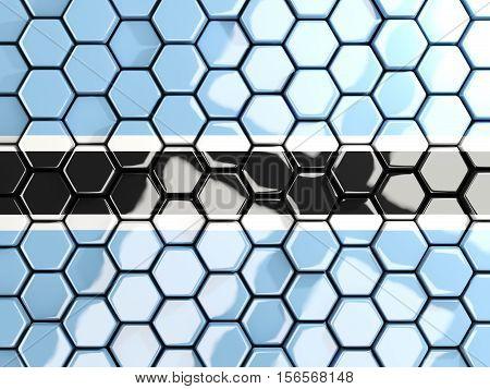 Flag Of Botswana, Hexagon Mosaic Background