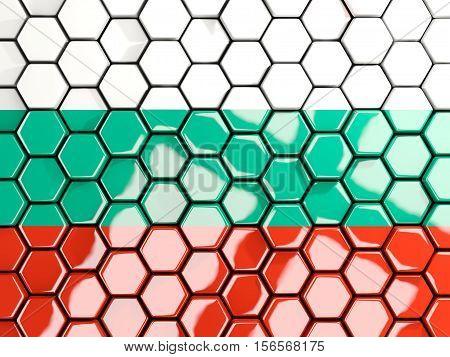 Flag Of Bulgaria, Hexagon Mosaic Background
