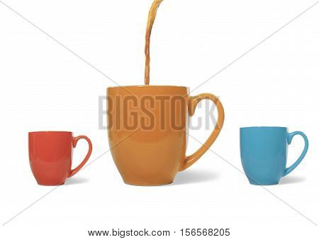 Still Life of Coffee Being Poured into a Large Coffee Cup on White Background