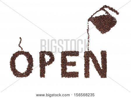 Still Life of an Open Sign and Coffee Pot Made of Coffee Beans on White Background