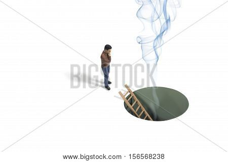 Still Life of a Toy Person Looking at Smoke Coming From a Hole