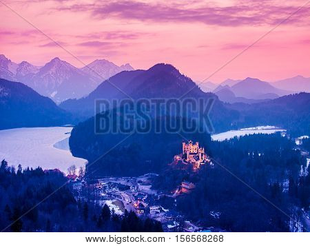 Hohenschwangau Castle at night in the Bavarian Alps of Germany