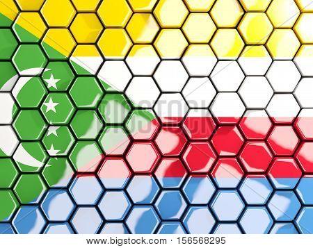 Flag Of Comoros, Hexagon Mosaic Background