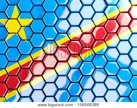 Flag Of Democratic Republic Of The Congo, Hexagon Mosaic Background
