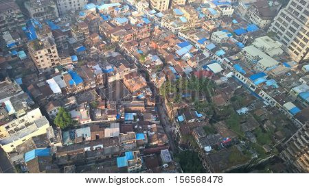 Urban Guangzhou in Guangdong city settlement in the morning light