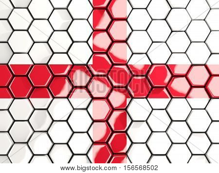 Flag Of England, Hexagon Mosaic Background