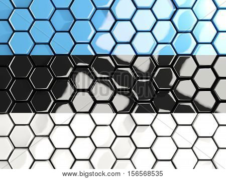 Flag Of Estonia, Hexagon Mosaic Background